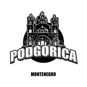 Podgorica, Montenegro, black and white logo Stock Vector