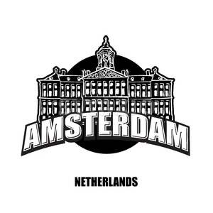 Amsterdam, Netherlands, black and white logo Stock Vector