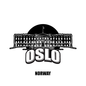 Oslo, Norway, black and white logo Stock Vector