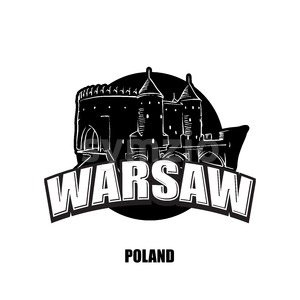 Warsaw, fortress, black and white logo Stock Vector