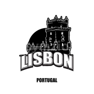 Lisbon, tower, black and white logo Stock Vector