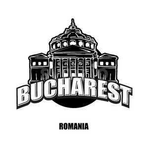 Bucharest, Romania, black and white logo Stock Vector