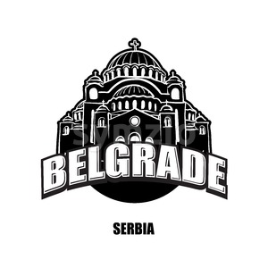 Belgrade, Serbia, black and white logo Stock Vector