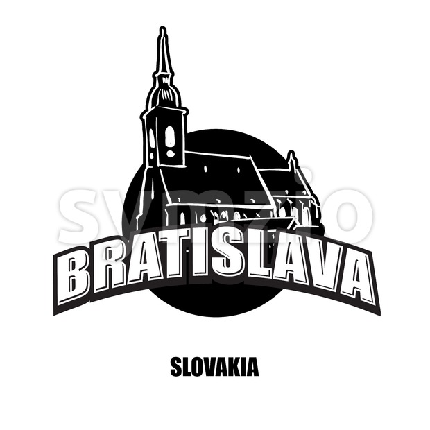 Bratislava church black and white logo Stock Vector