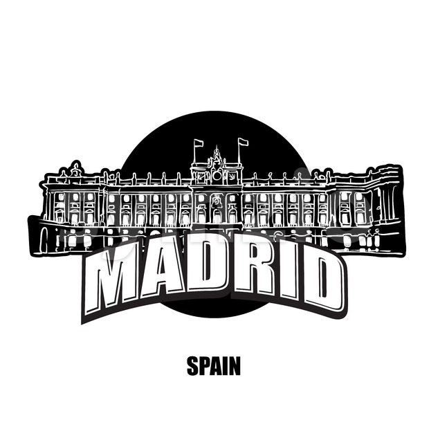 Madrid royal palace black and white logo for high quality prints. Hand drawn vector sketch.
