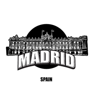 Madrid royal palace black and white logo Stock Vector
