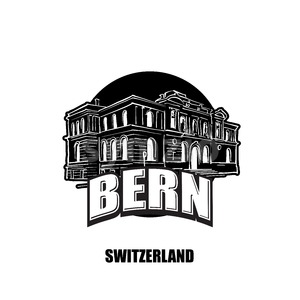 Bern, switzerland, black and white logo Stock Vector