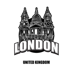 London St Pauls cathedral black and white logo Stock Vector