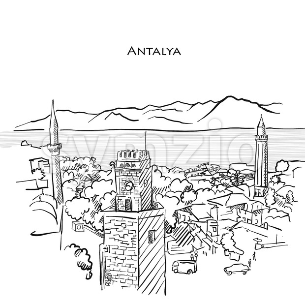 Antalya Travel Sketch Stock Vector