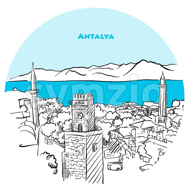 Antalya two toned drawing Stock Vector