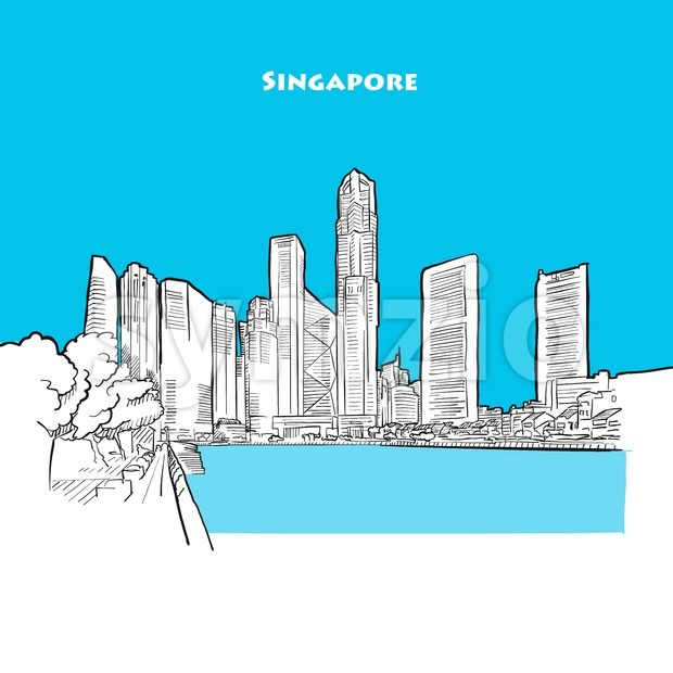 Drawing of Singapore downtown. Stock Vector