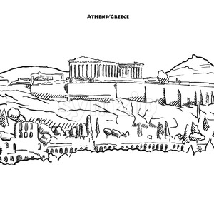 Drawing of Athens acroplolis. Stock Vector