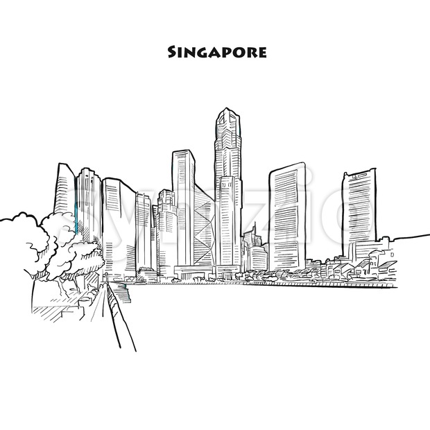 Singapore skyline drawing Stock Vector