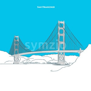 Two-toned landmark of Golden Gate Bridge Stock Vector