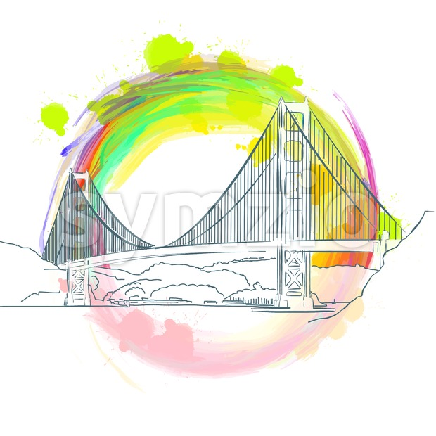 Colored landmark of Golden Gate Bridge Stock Vector