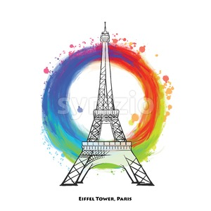 Paris Eiffel Tower drawing Stock Vector