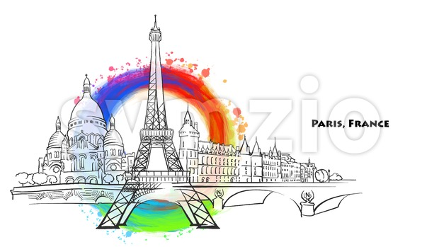 Paris landmarks with colored background. Hand-drawn vector sketch