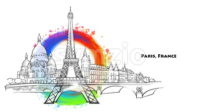 Paris landmarks with colored background Stock Vector