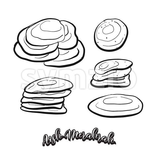 Hand drawn sketch of Aish Merahrah food. Vector drawing of Flatbread food, usually known in Egypt. Bread illustration series.
