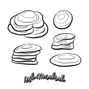 Hand drawn sketch of Aish Merahrah food Stock Vector