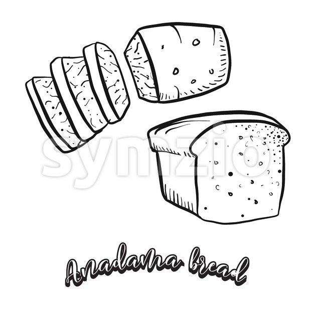Hand drawn sketch of Anadama bread food Stock Vector