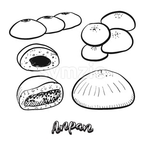 Hand drawn sketch of Anpan food Stock Vector
