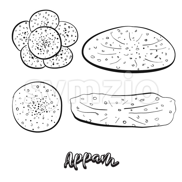 Hand drawn sketch of Appam food Stock Vector