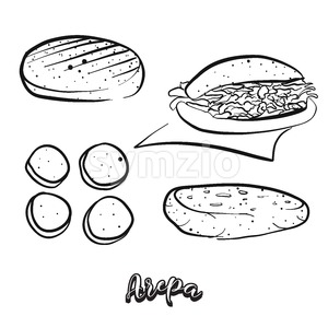Hand drawn sketch of Arepa food Stock Vector
