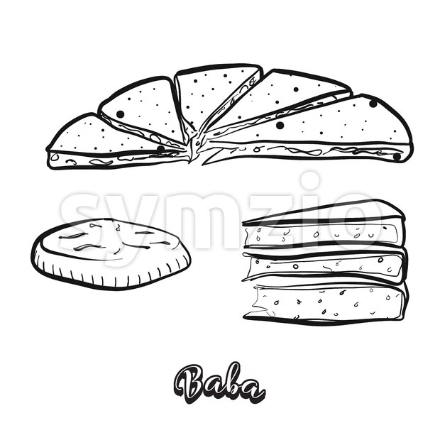 Hand drawn sketch of Baba food. Vector drawing of Various thick, round breads food, usually known in China, Yunnan, naxi, ...
