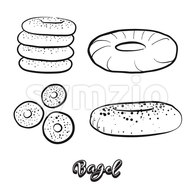 Hand drawn sketch of Bagel food Stock Vector