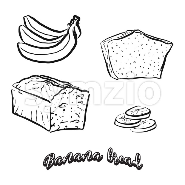Hand drawn sketch of Banana bread Stock Vector