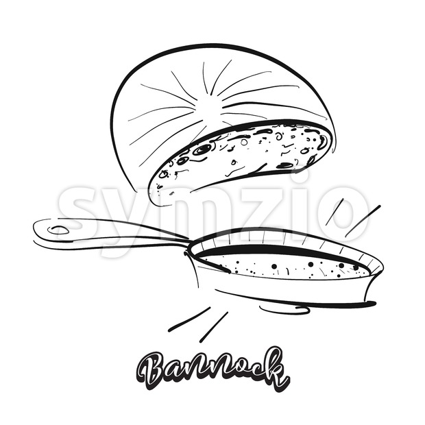 Hand drawn sketch of Bannock bread Stock Vector