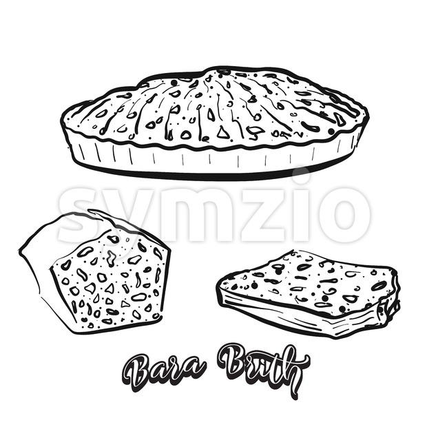 Hand drawn sketch of Bara Brith bread Stock Vector