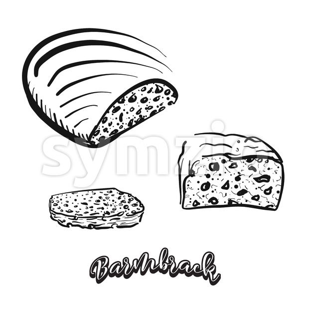 Hand drawn sketch of Barmbrack bread Stock Vector