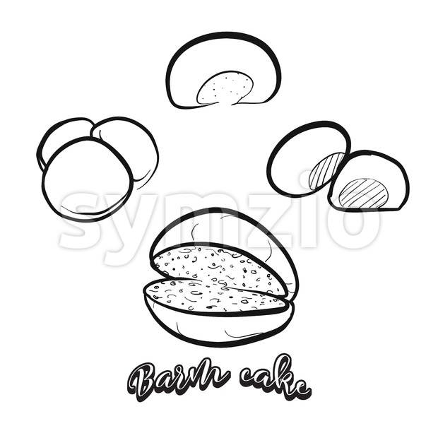 Hand drawn sketch of Barm cake bread Stock Vector