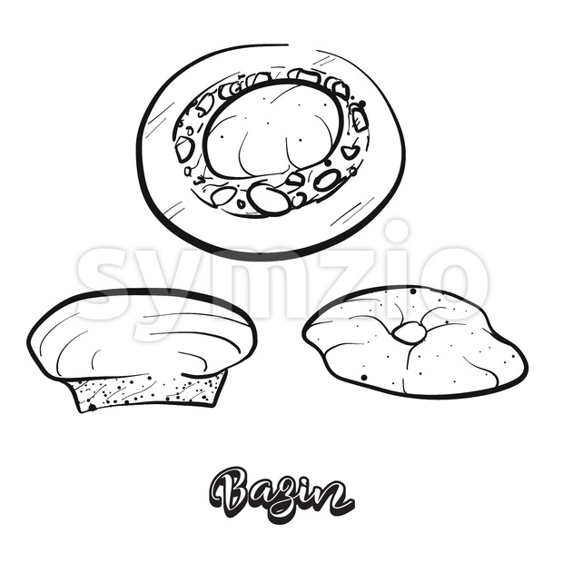 Hand drawn sketch of Bazin bread. Vector drawing of Flatbread food, usually known in Libya. Bread illustration series.