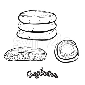 Hand drawn sketch of Bazlama bread Stock Vector