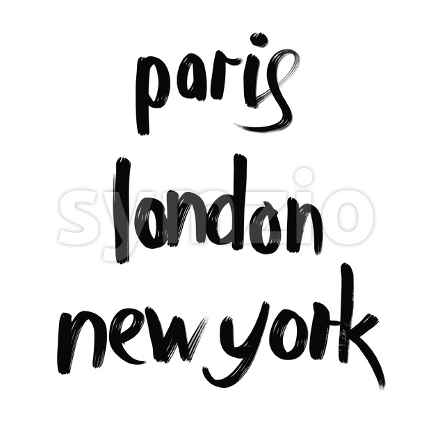 Paris, London, New York lettering Stock Vector