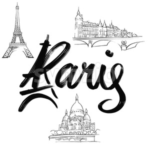 Paris lettering with signs Stock Vector