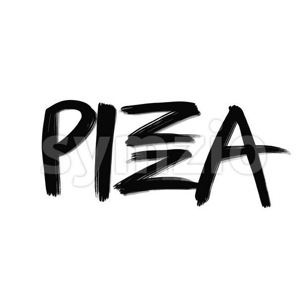 Pizza lettering. Hand drawn sign for poster and advertising artworks.