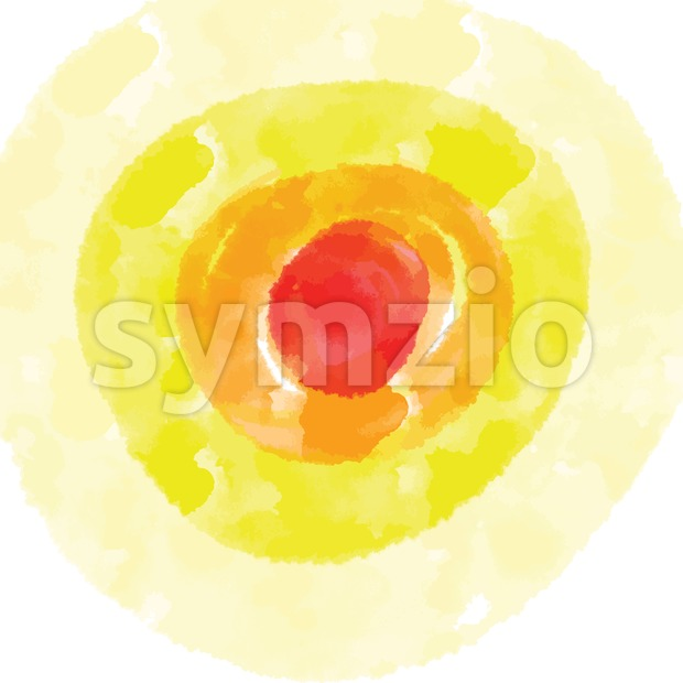 Red and Yellow watercolor background. Circle elements for grreting card and poster artworks.