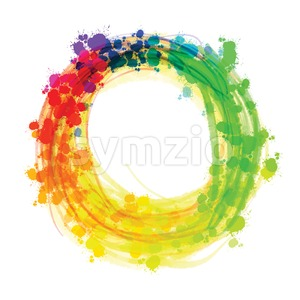 Multicolor splashed watercolor circle Stock Vector
