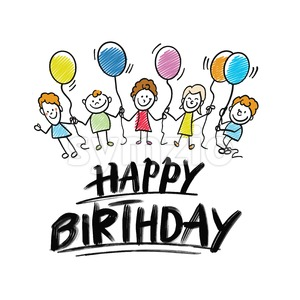 happy birthday lettering with kids doodles Stock Vector