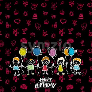 Happy birthday doodles background Stock Vector