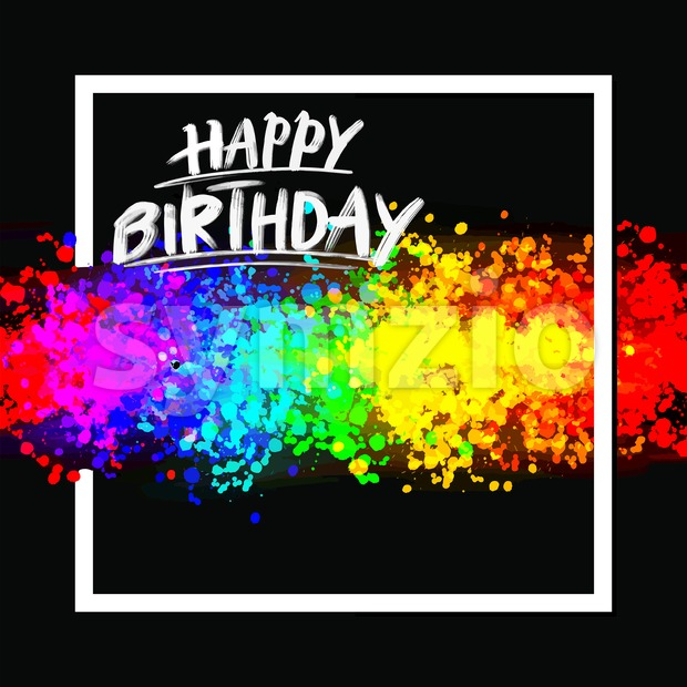 Happy birthday colorful background. Hand drawn vector sketch.