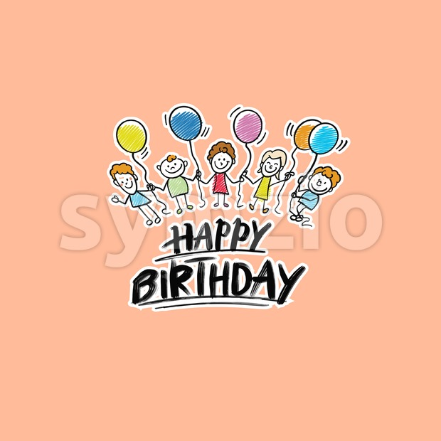 Happy birthday kids logo on beige background. Hand drawn vector sketch.