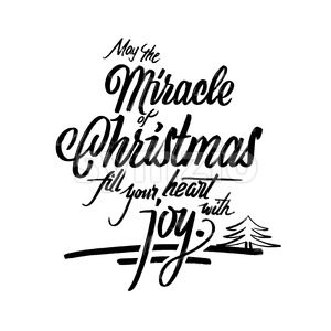 Christmas words lettering greeting card Stock Vector