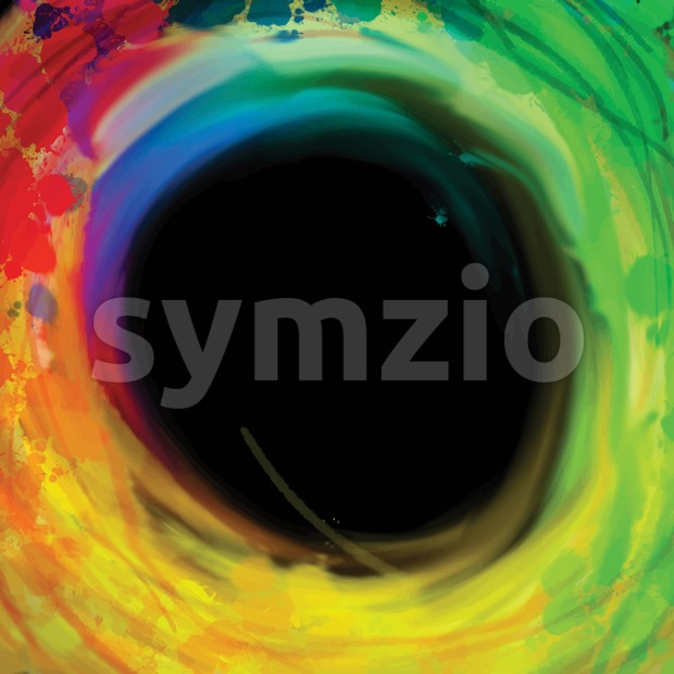 Colorful circle brackground on black Stock Photo