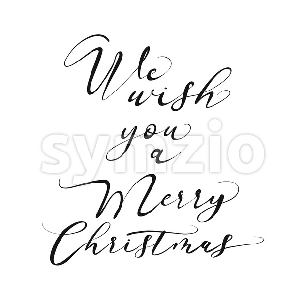 We wish you a Merry Christmas lettering. Nice seasonal calligraphic artwork for greeting cards. Hand-drawn vector sketch.