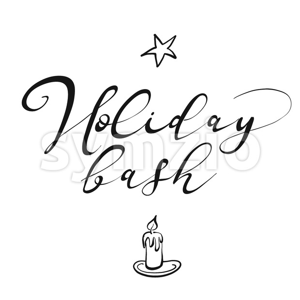 Holiday bash lettering. Nice seasonal calligraphic artwork for greeting cards. Hand-drawn vector sketch.